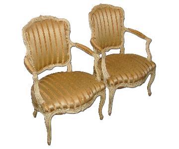 Louis XV Style Open Armchairs - Pair