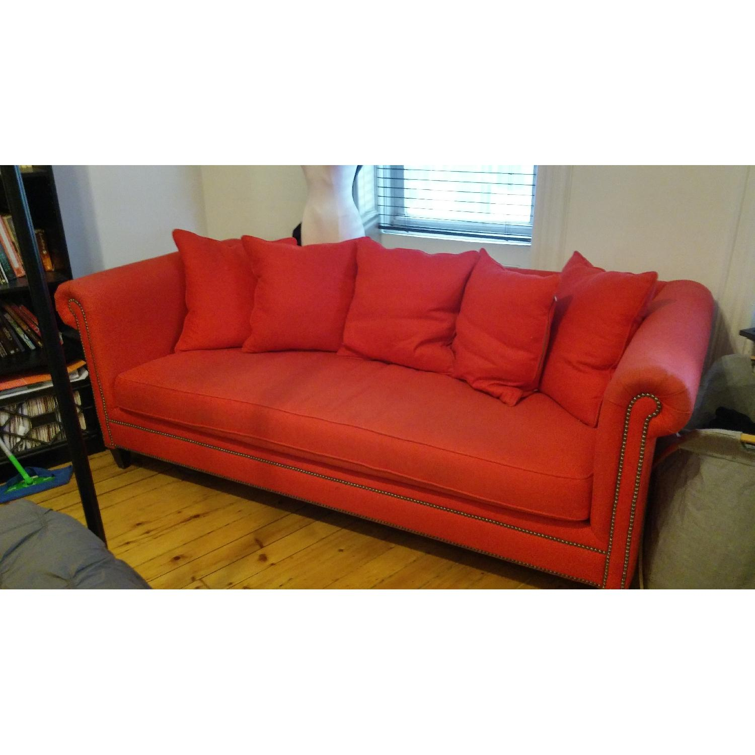 Crate & Barrel Red Couch - image-2