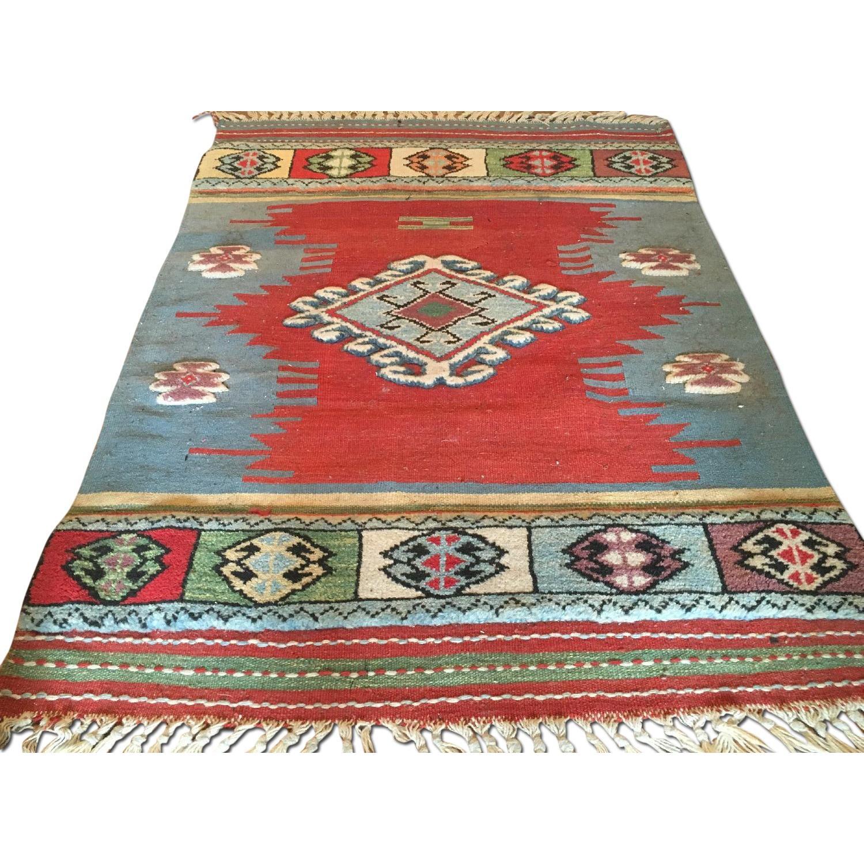Antique Blue Handmade Turkish Kilim w/ Wool Pile Rug