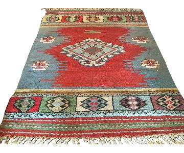 Antique Blue Handmade Turkish Kilim w/ Wool Pile Rug