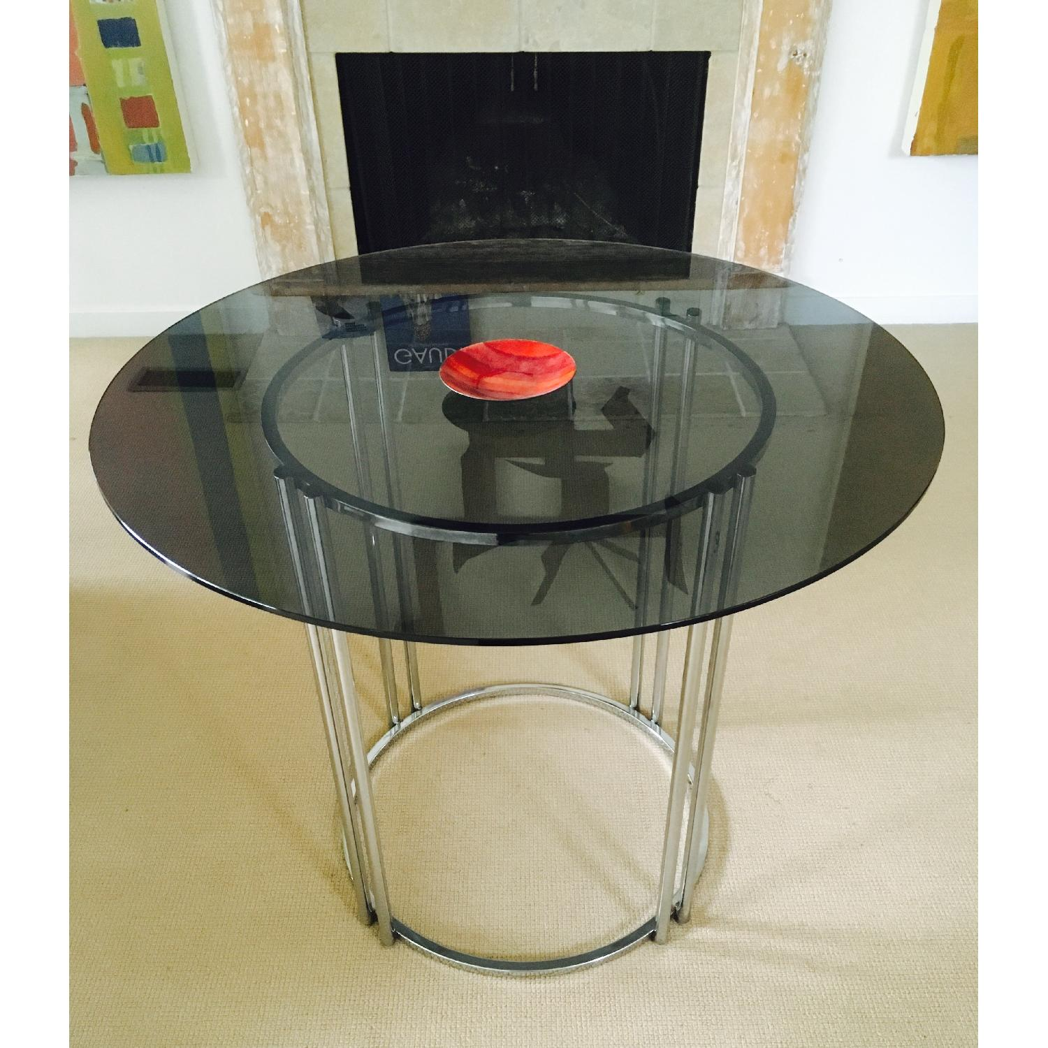 Vintage Chrome & Smoked Glass Dining/Occasional Table - image-1