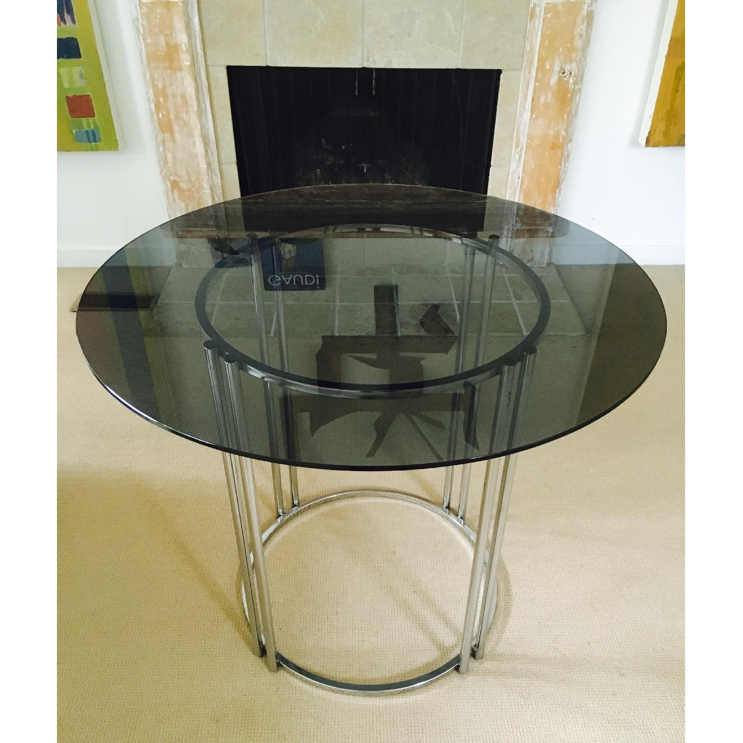 Vintage Chrome & Smoked Glass Dining/Occasional Table - image-2