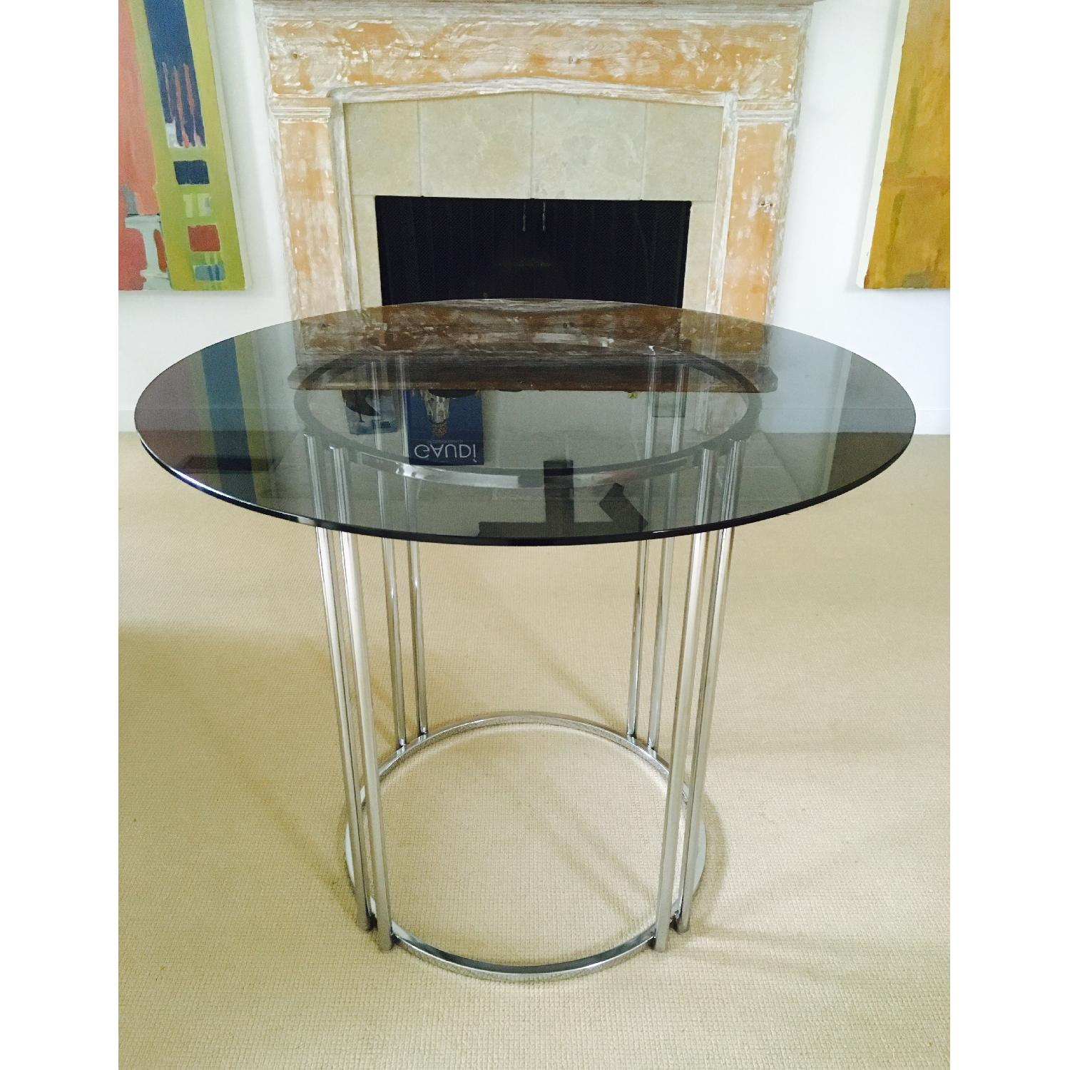 Vintage Chrome & Smoked Glass Dining/Occasional Table - image-3