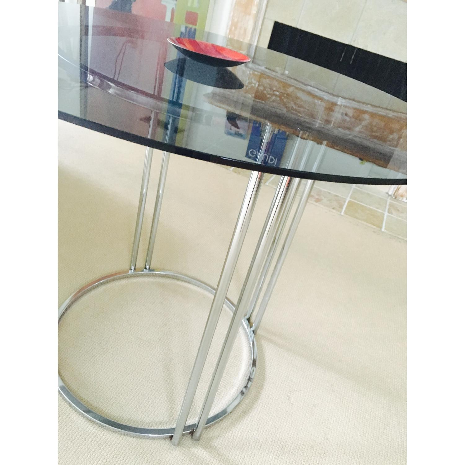 Vintage Chrome & Smoked Glass Dining/Occasional Table - image-4