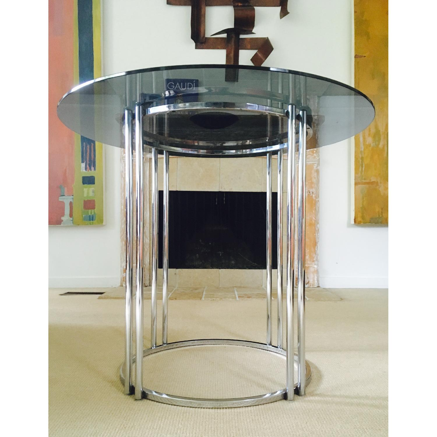 Vintage Chrome & Smoked Glass Dining/Occasional Table - image-6