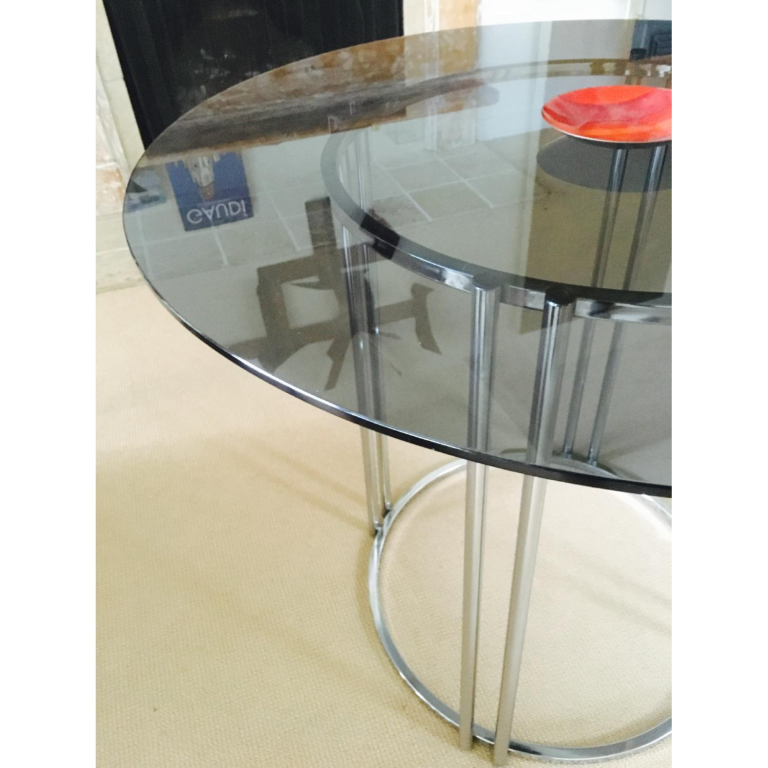 Vintage Chrome & Smoked Glass Dining/Occasional Table - image-7