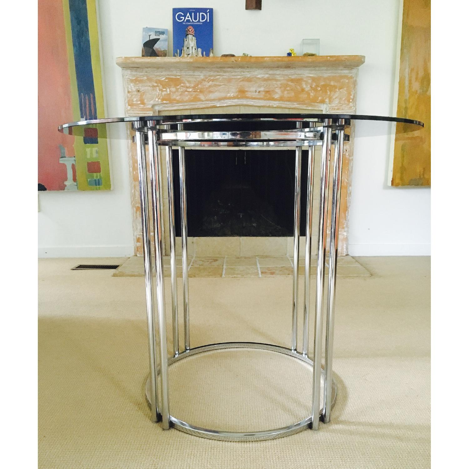 Vintage Chrome & Smoked Glass Dining/Occasional Table - image-9