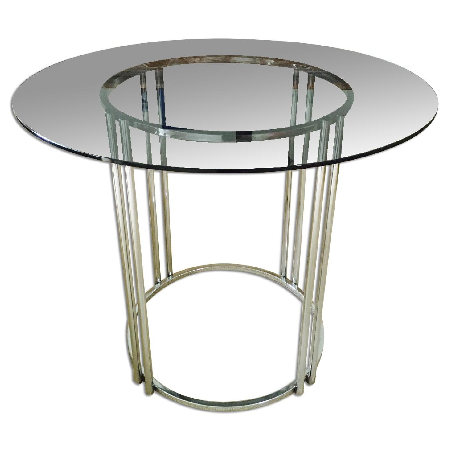 Vintage Chrome & Smoked Glass Dining/Occasional Table - image-0