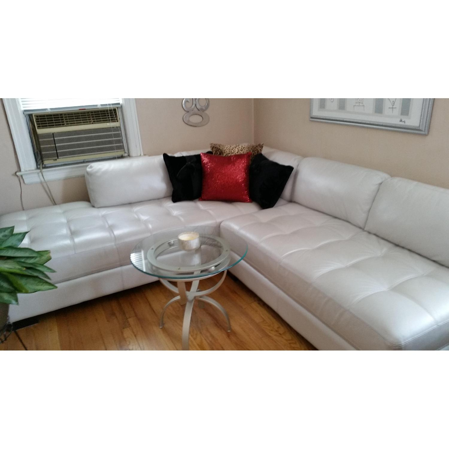 Chateau dAx Leather Sectional + Glass Table - image-1