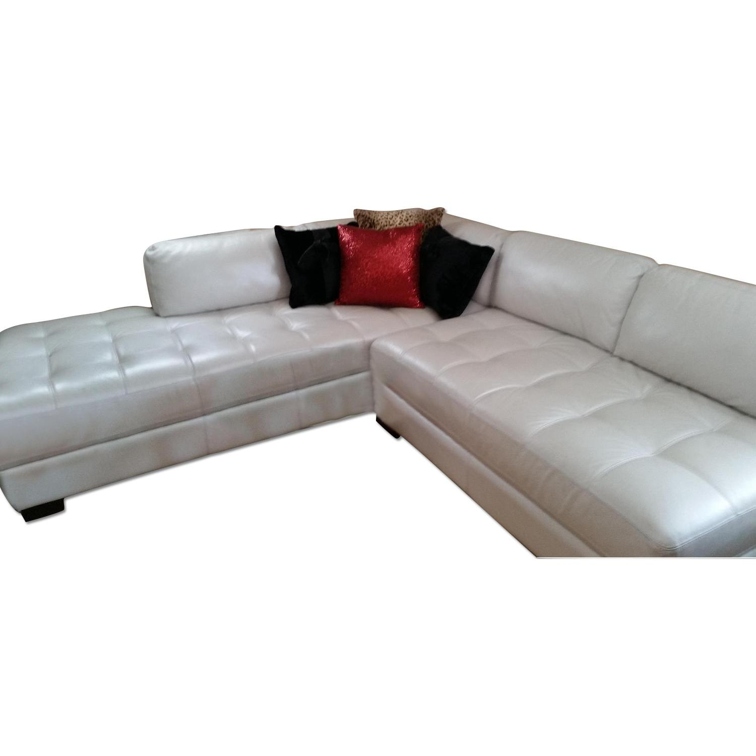 Chateau dAx Leather Sectional + Glass Table - image-0
