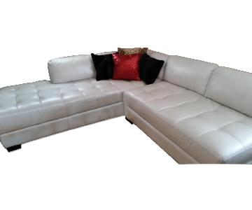 Chateau dAx Leather Sectional + Glass Table