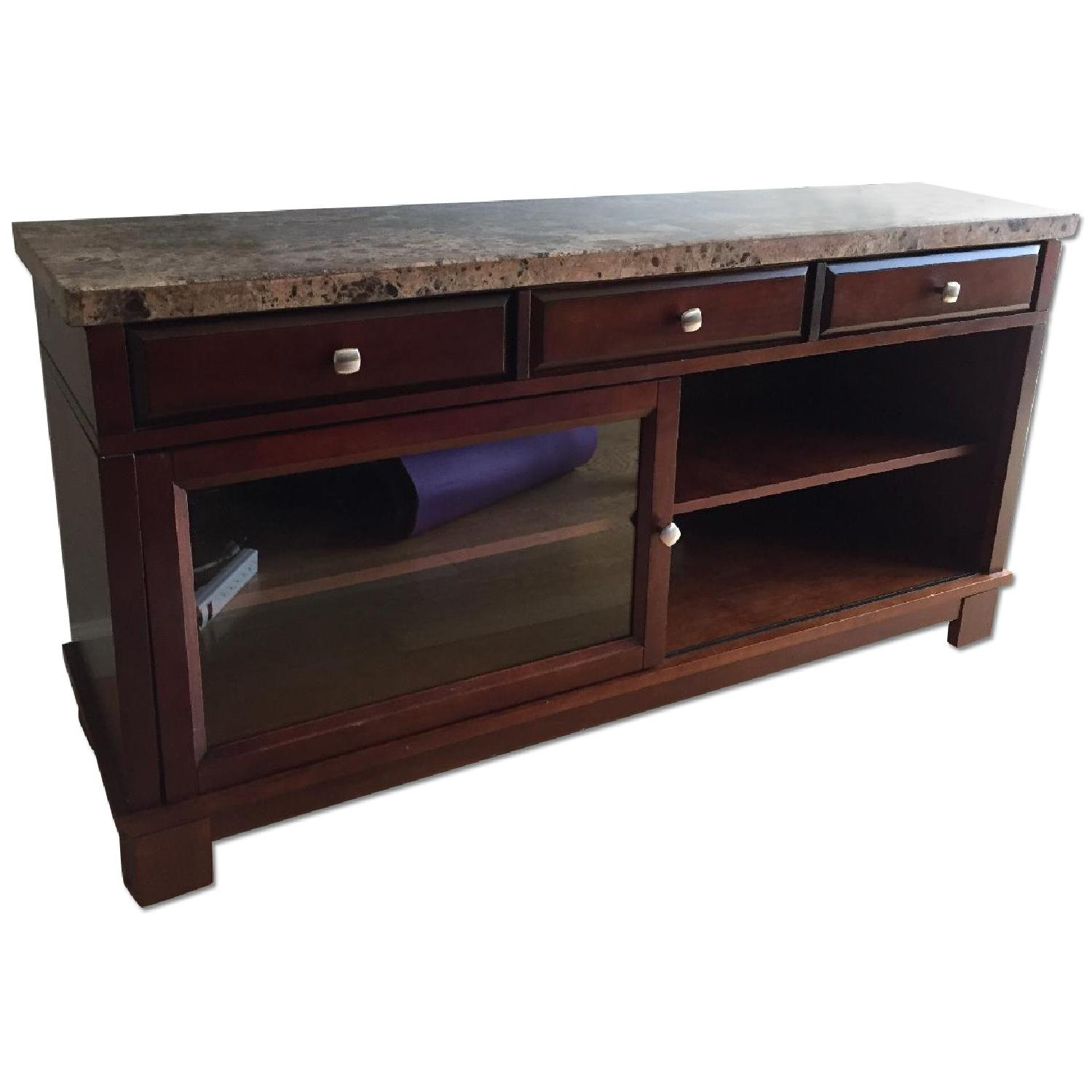Bob's Brown Marble TV Console - image-0