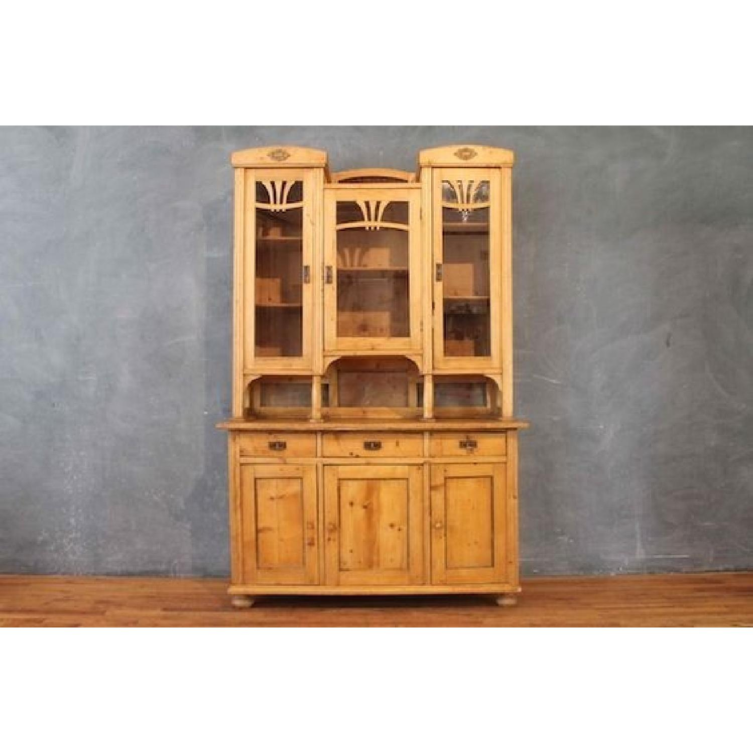 Country Pine Cabinet w/ Glass Door Hutch - image-1