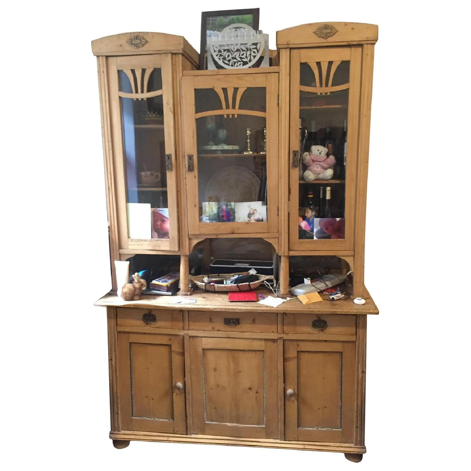 Country Pine Cabinet w/ Glass Door Hutch - image-0