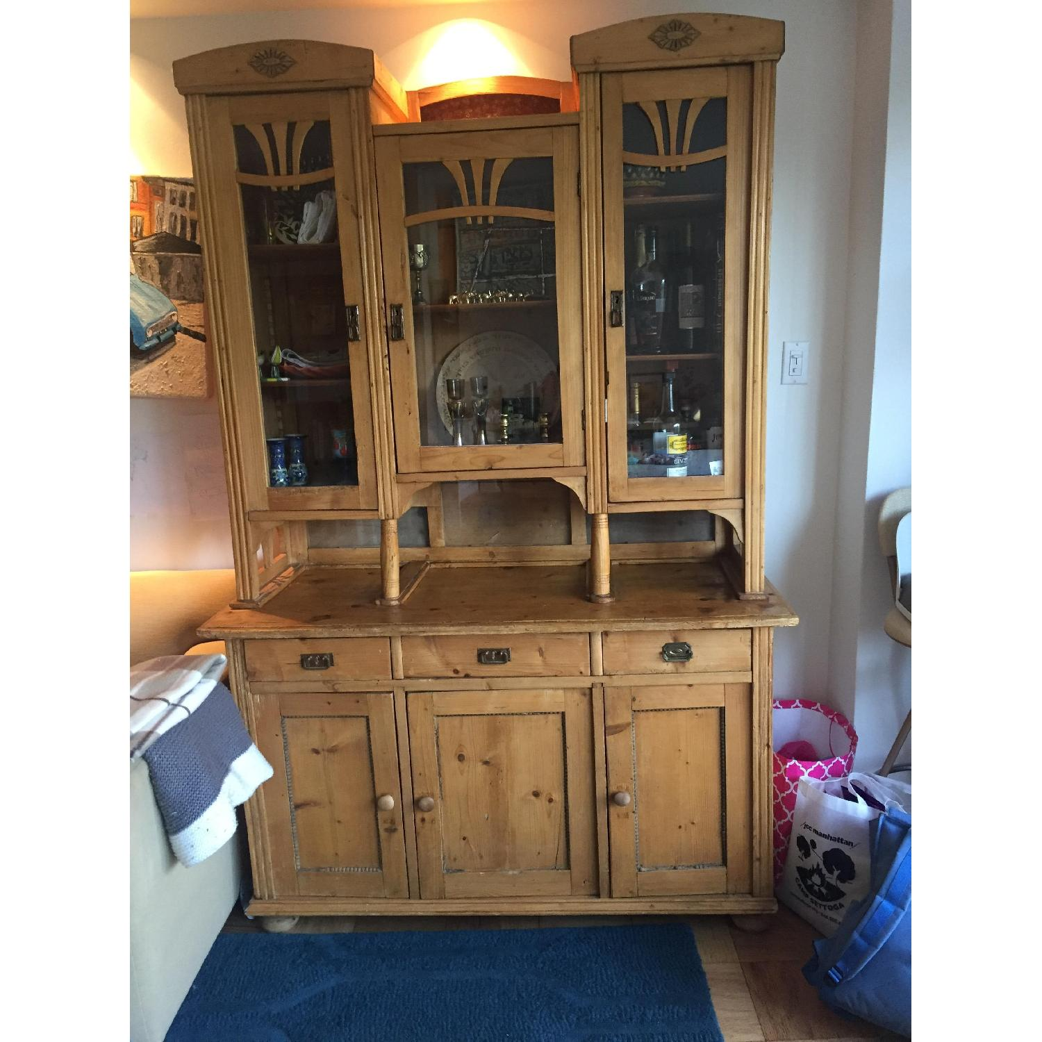 Country Pine Cabinet w/ Glass Door Hutch - image-3