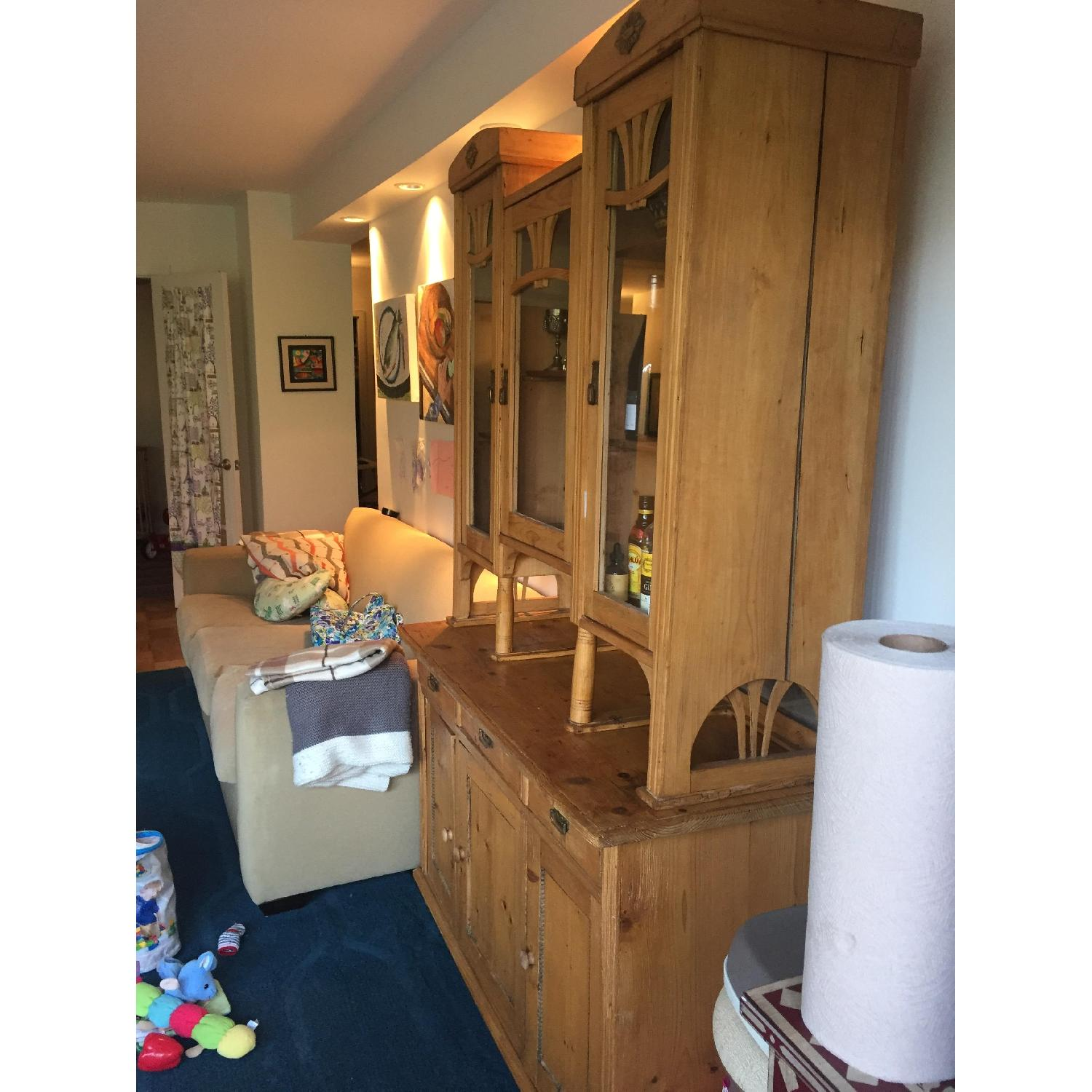 Country Pine Cabinet w/ Glass Door Hutch - image-4
