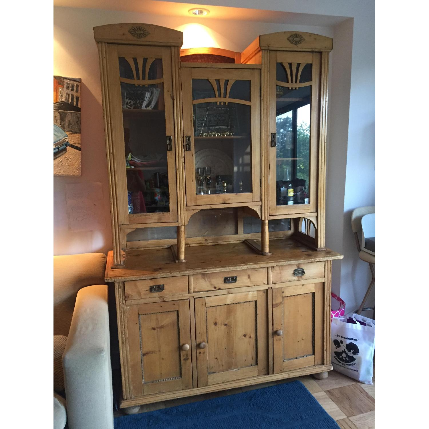Country Pine Cabinet w/ Glass Door Hutch - image-5