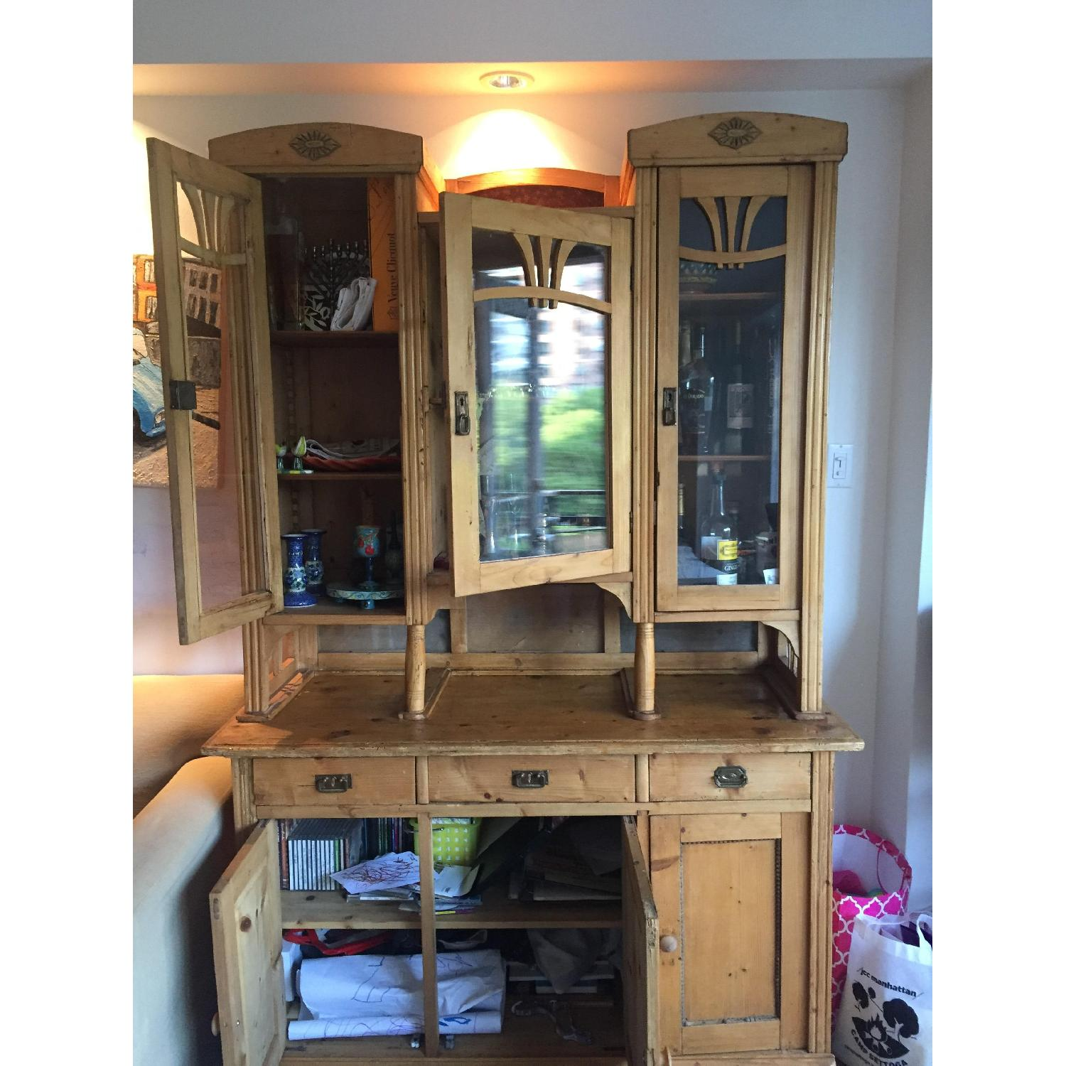 Country Pine Cabinet w/ Glass Door Hutch - image-8