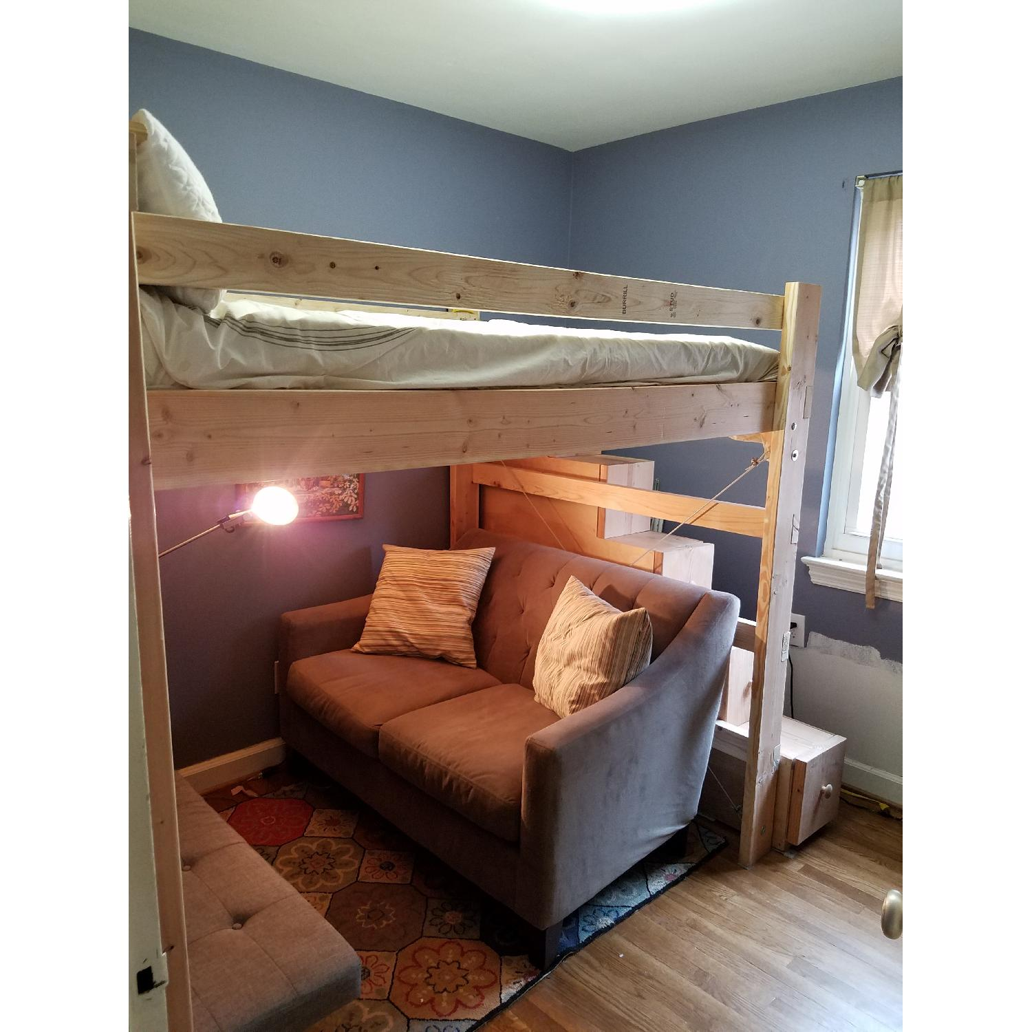 Custom-Made Wooden Full Loft Bed w/ Stairs - image-1
