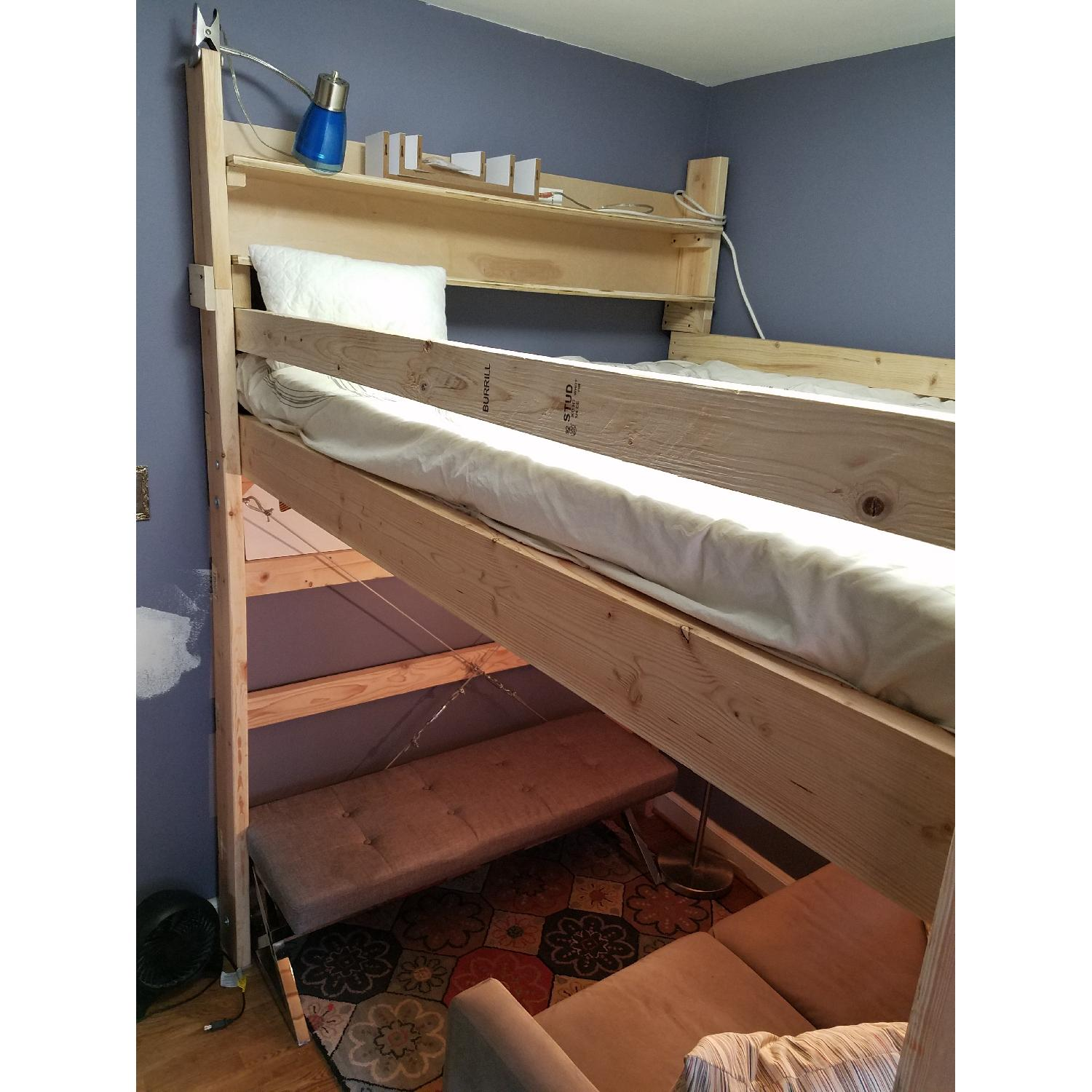 Custom-Made Wooden Full Loft Bed w/ Stairs - image-5