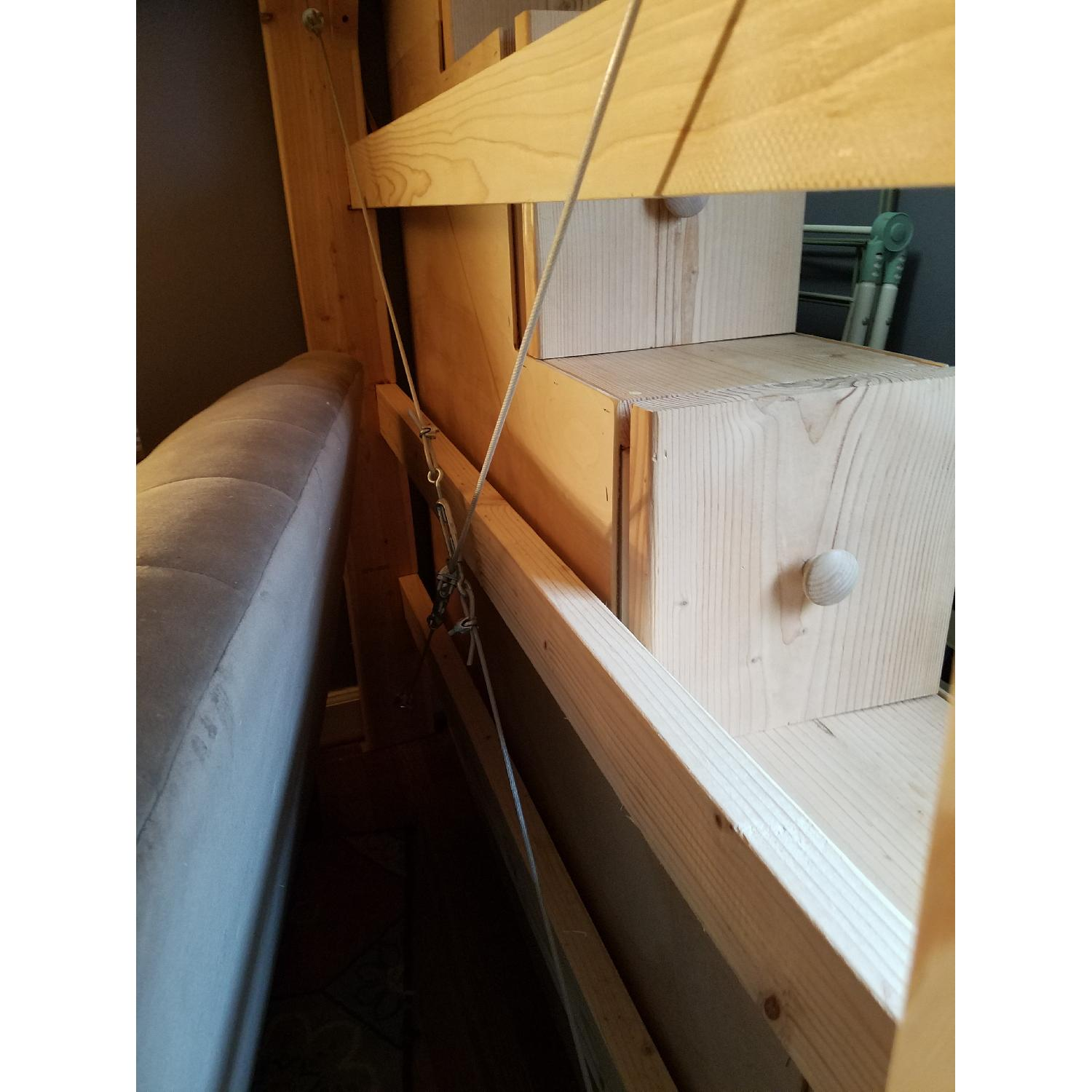 Custom-Made Wooden Full Loft Bed w/ Stairs - image-7