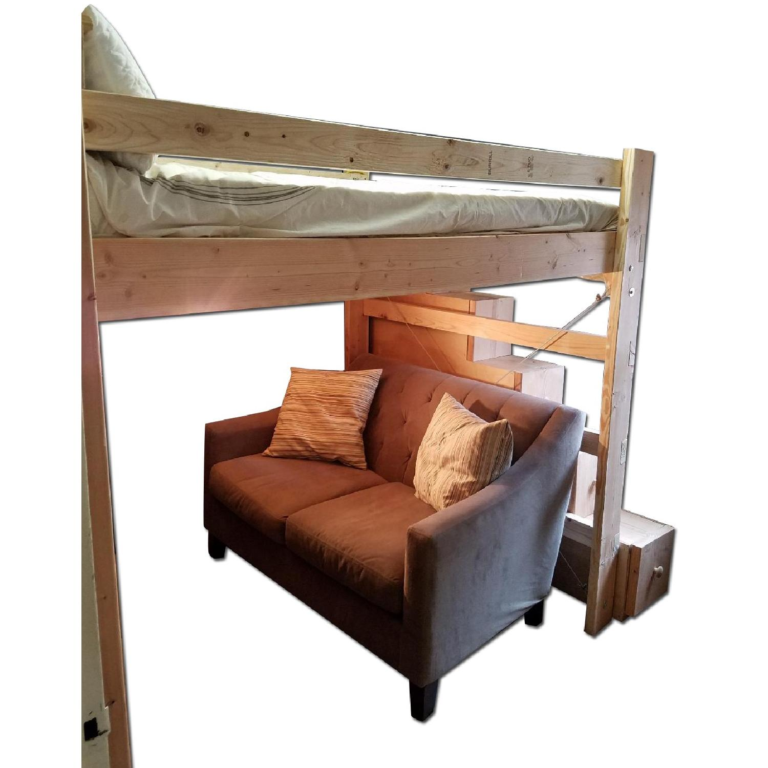 Custom-Made Wooden Full Loft Bed w/ Stairs - image-0