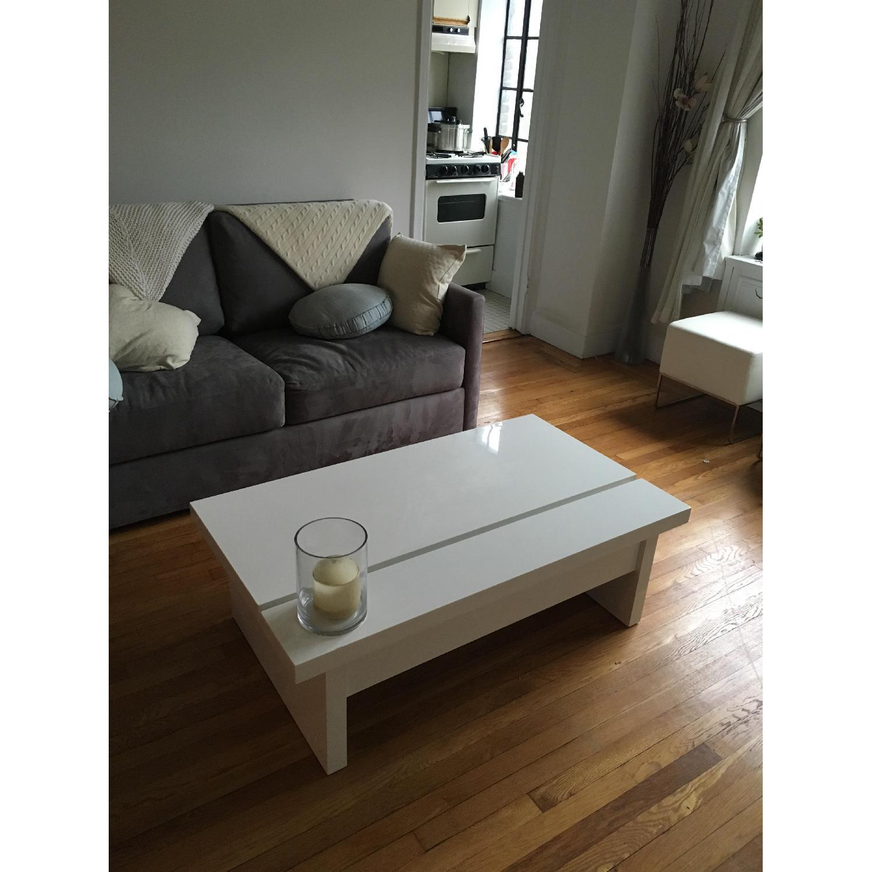 Lazzoni White Lacquer Storage Coffee Table - image-1