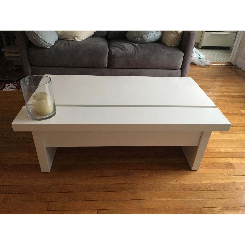 Lazzoni White Lacquer Storage Coffee Table - image-2