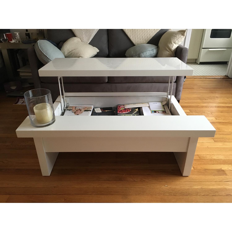 Lazzoni White Lacquer Storage Coffee Table - image-3