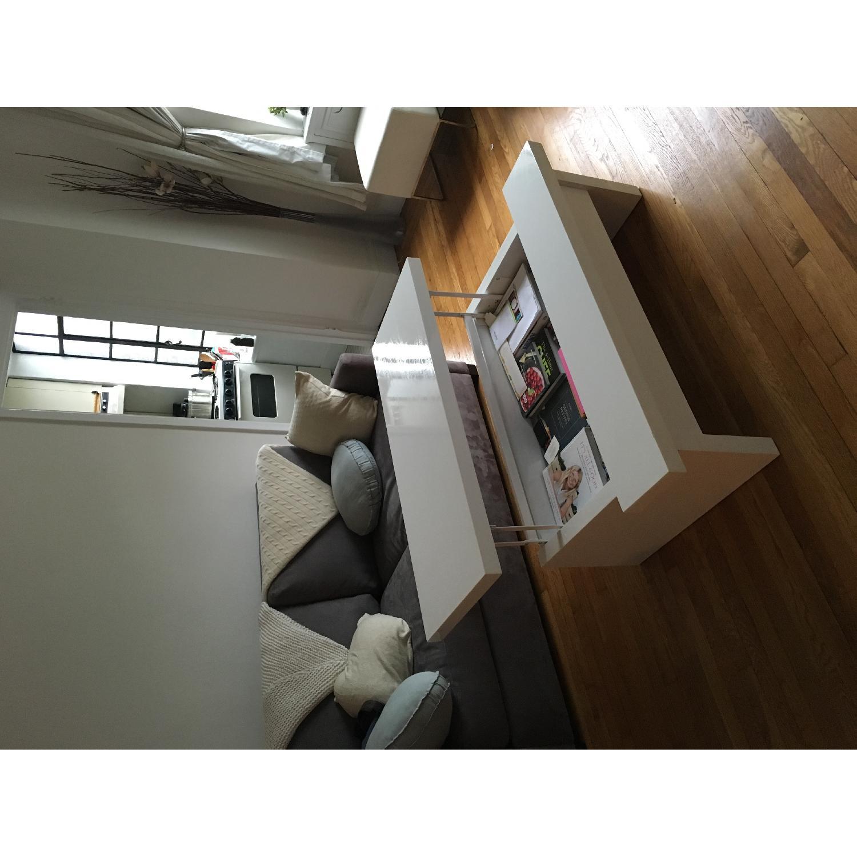 Lazzoni White Lacquer Storage Coffee Table - image-4