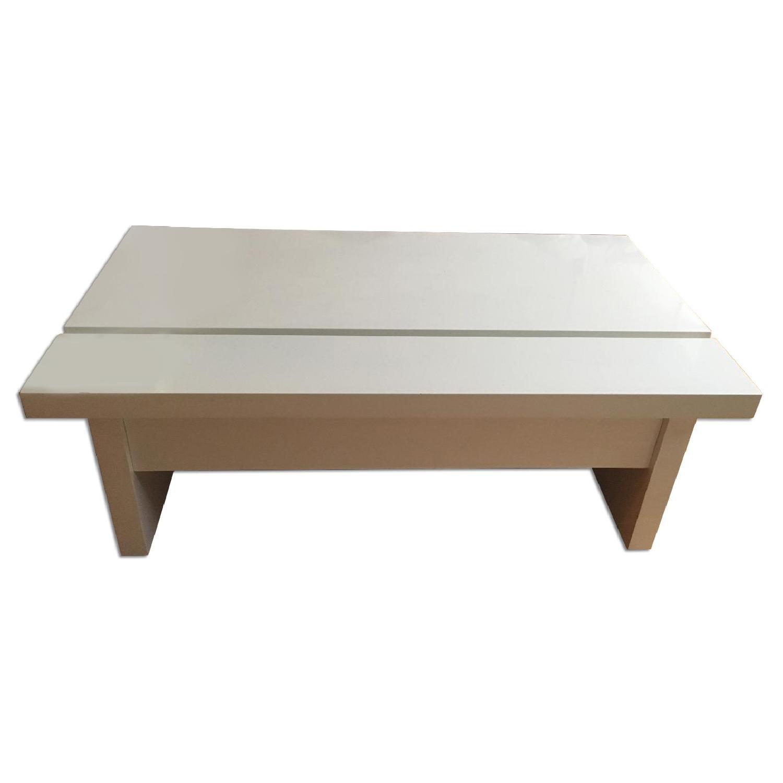 Lazzoni White Lacquer Storage Coffee Table - image-0