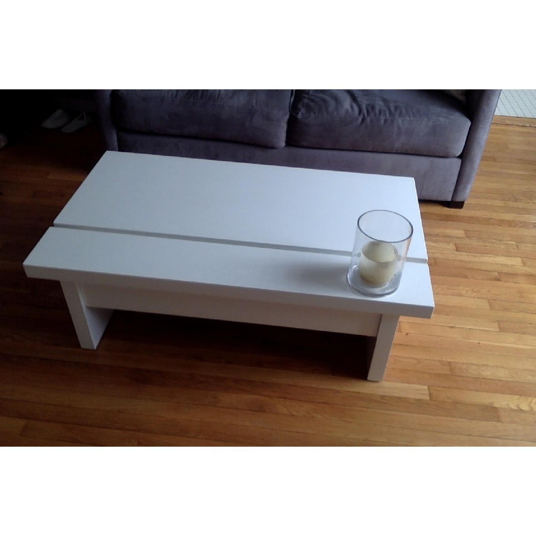 Lazzoni White Lacquer Storage Coffee Table - image-6