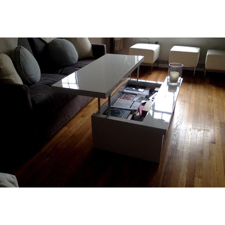 Lazzoni White Lacquer Storage Coffee Table - image-7