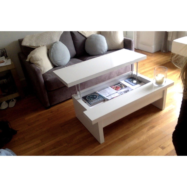Lazzoni White Lacquer Storage Coffee Table - image-8