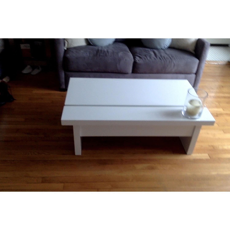 Lazzoni White Lacquer Storage Coffee Table - image-9