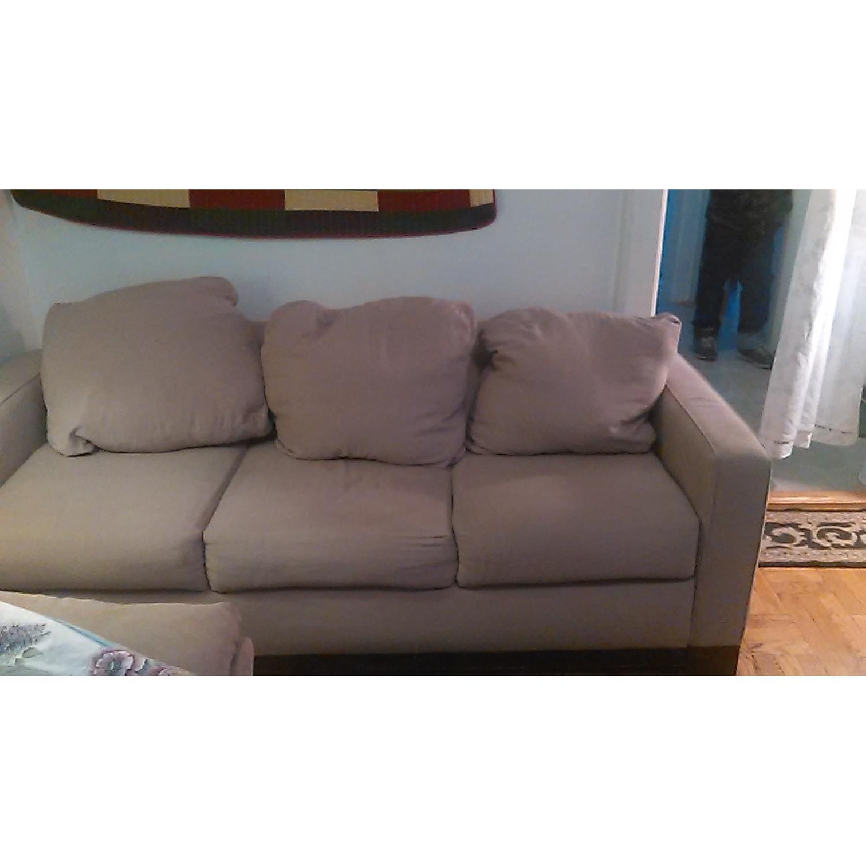 Light Brown Sofa + Armchair - image-1
