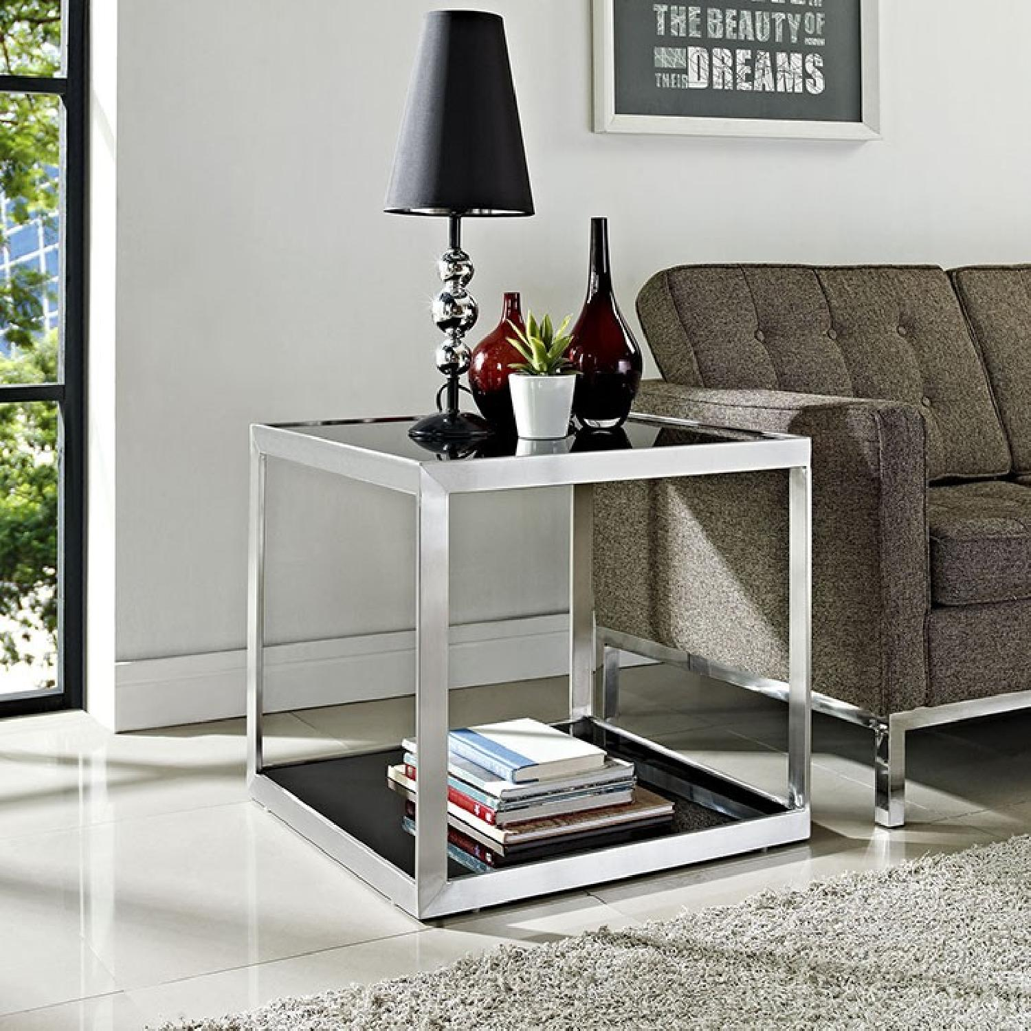Metal w/ Tinted Black Glass End Table - image-4