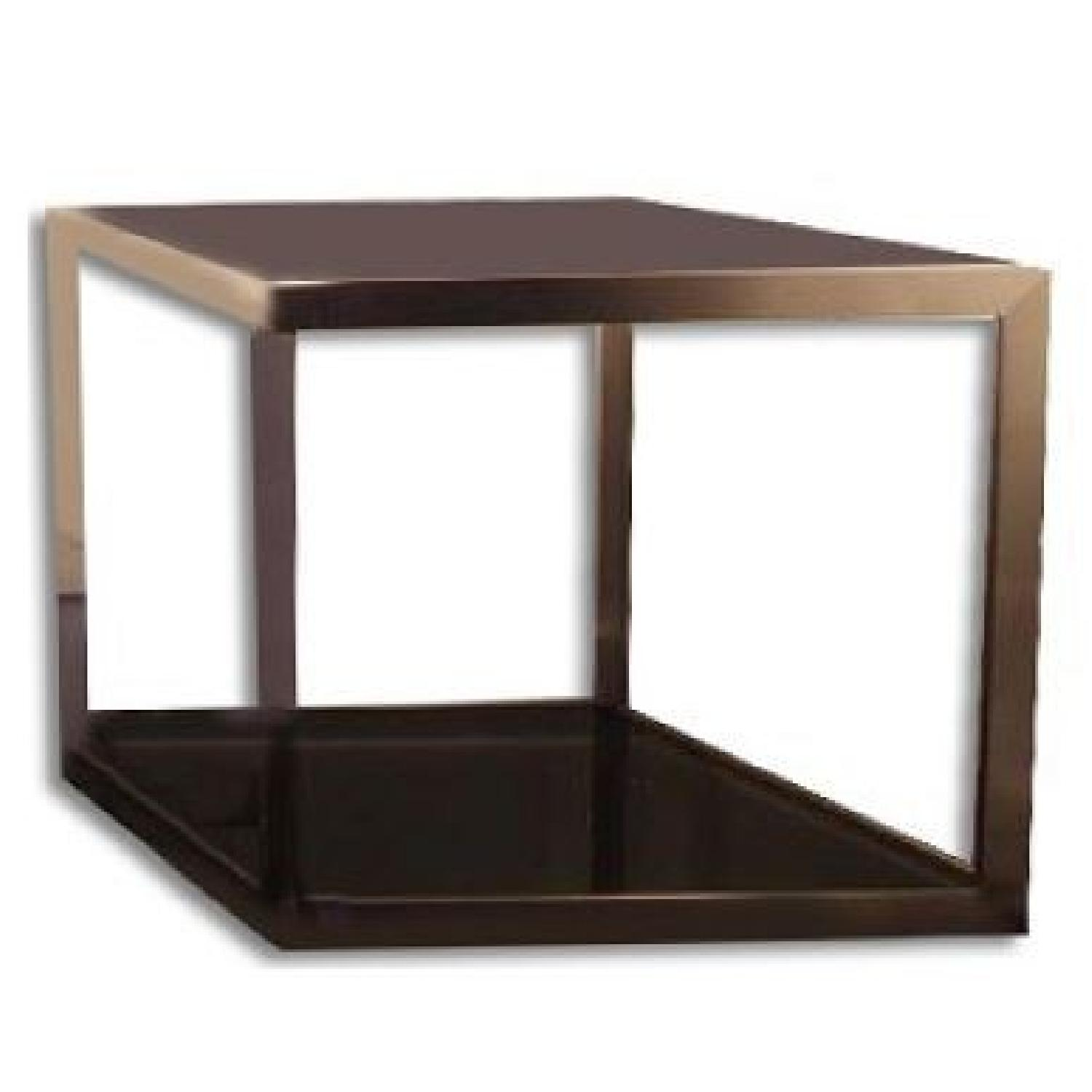Metal w/ Tinted Black Glass End Table - image-0