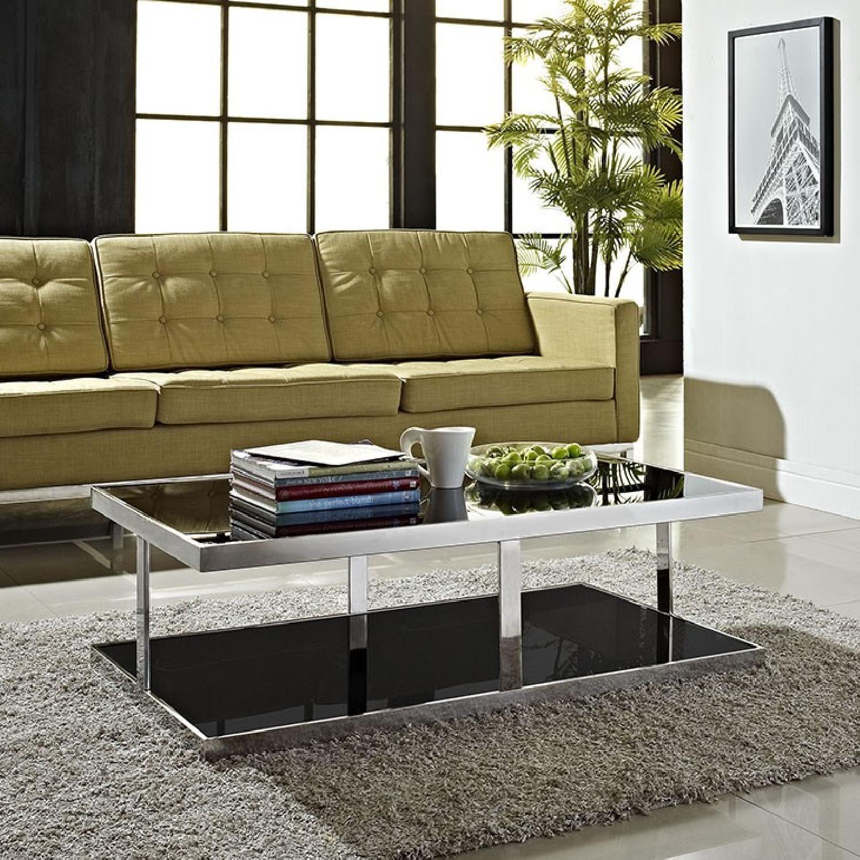 Metal w/ Tinted Black Glass Coffee Table - image-4