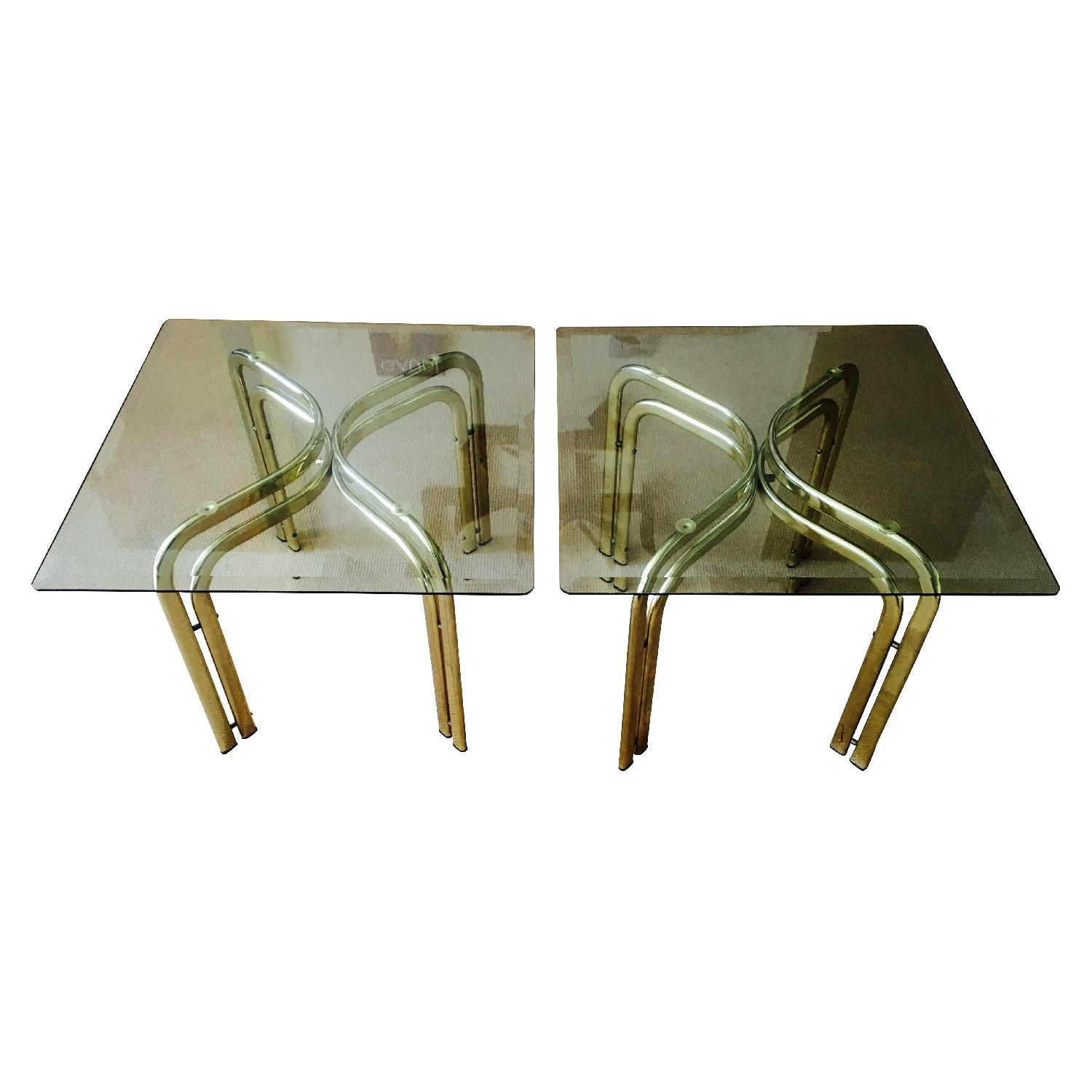 Vintage Brass & Glass Baughman Style Side Tables - Pair - image-1