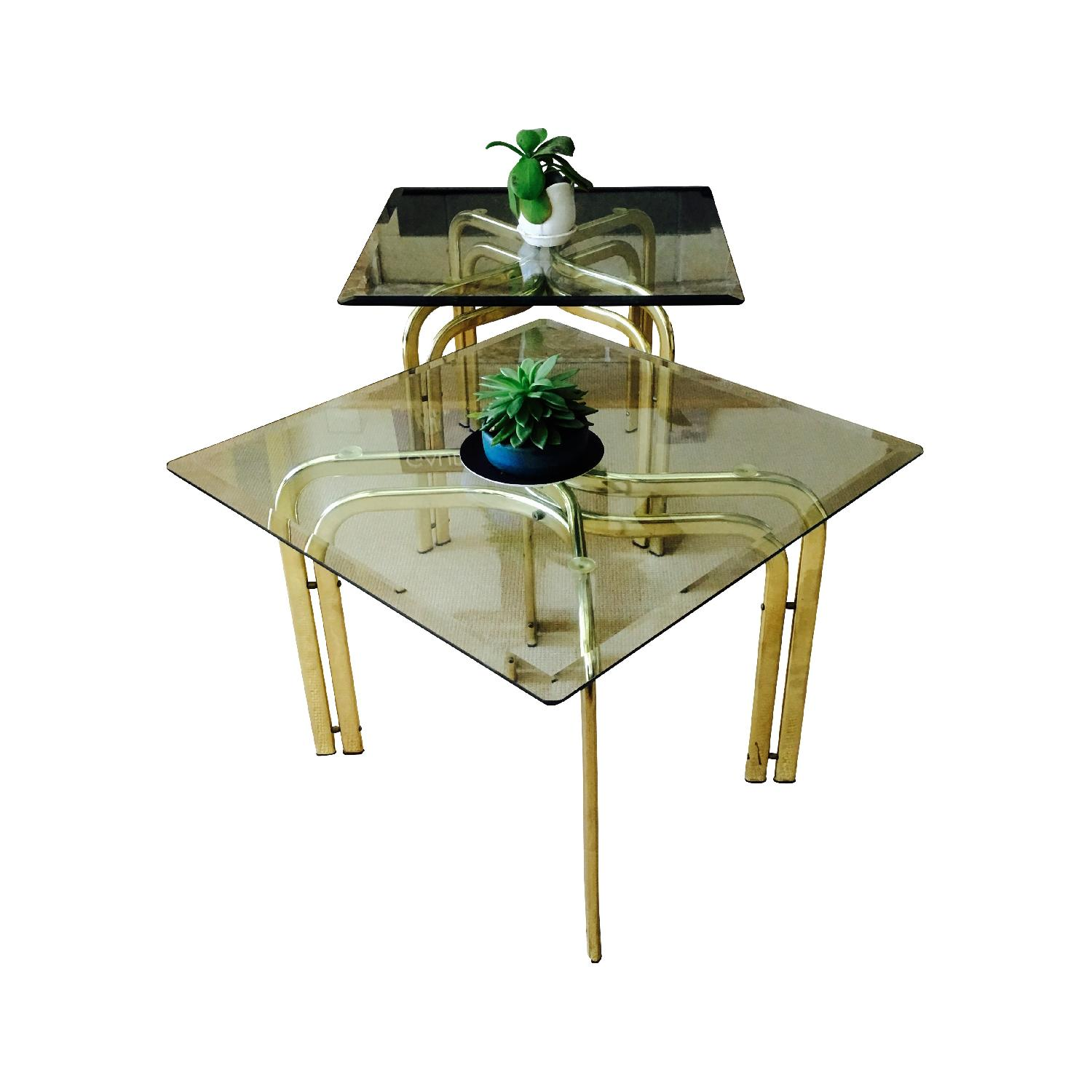 Vintage Brass & Glass Baughman Style Side Tables - Pair - image-2