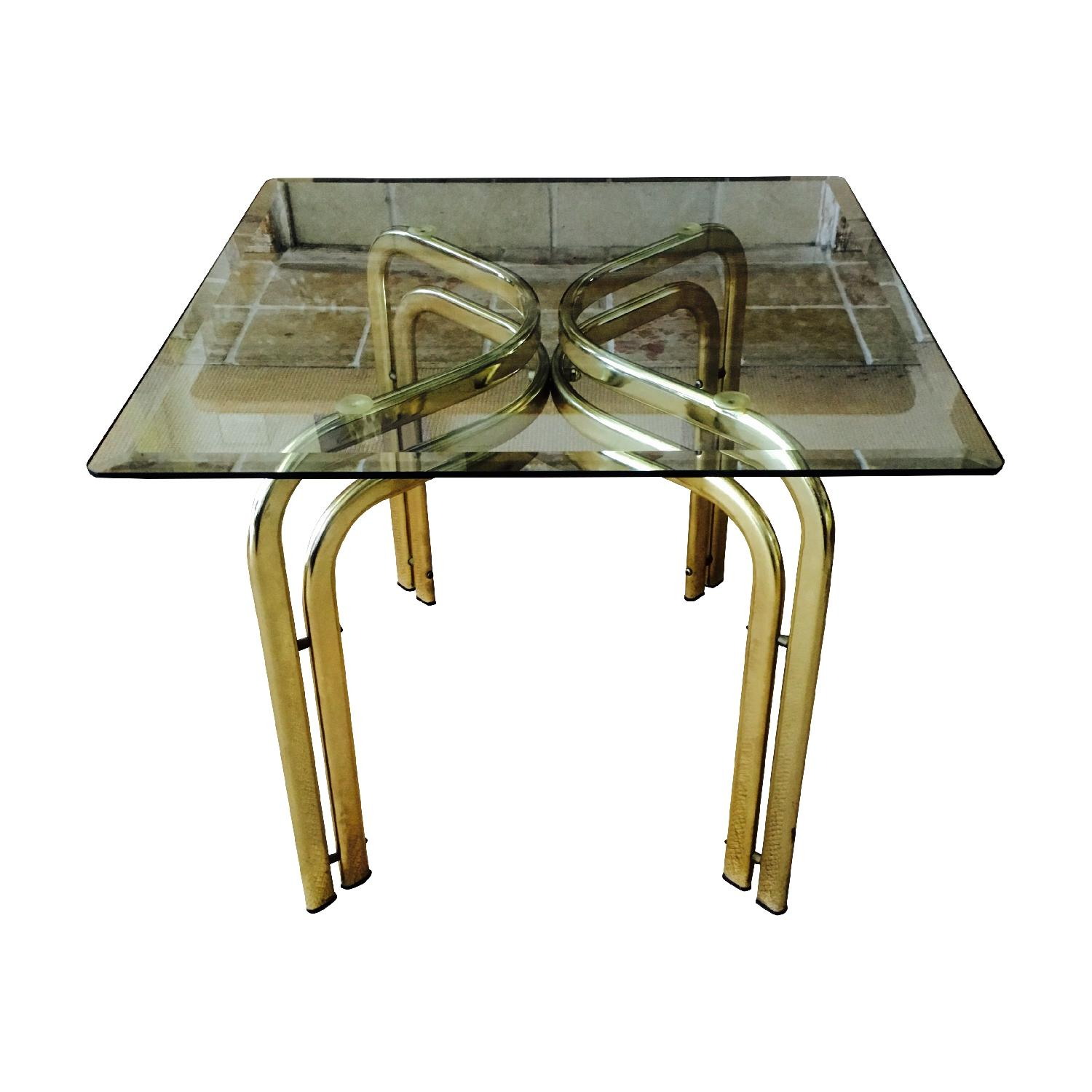 Vintage Brass & Glass Baughman Style Side Tables - Pair - image-3