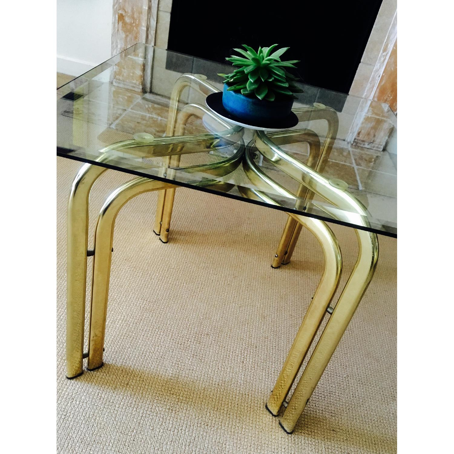 Vintage Brass & Glass Baughman Style Side Tables - Pair - image-4