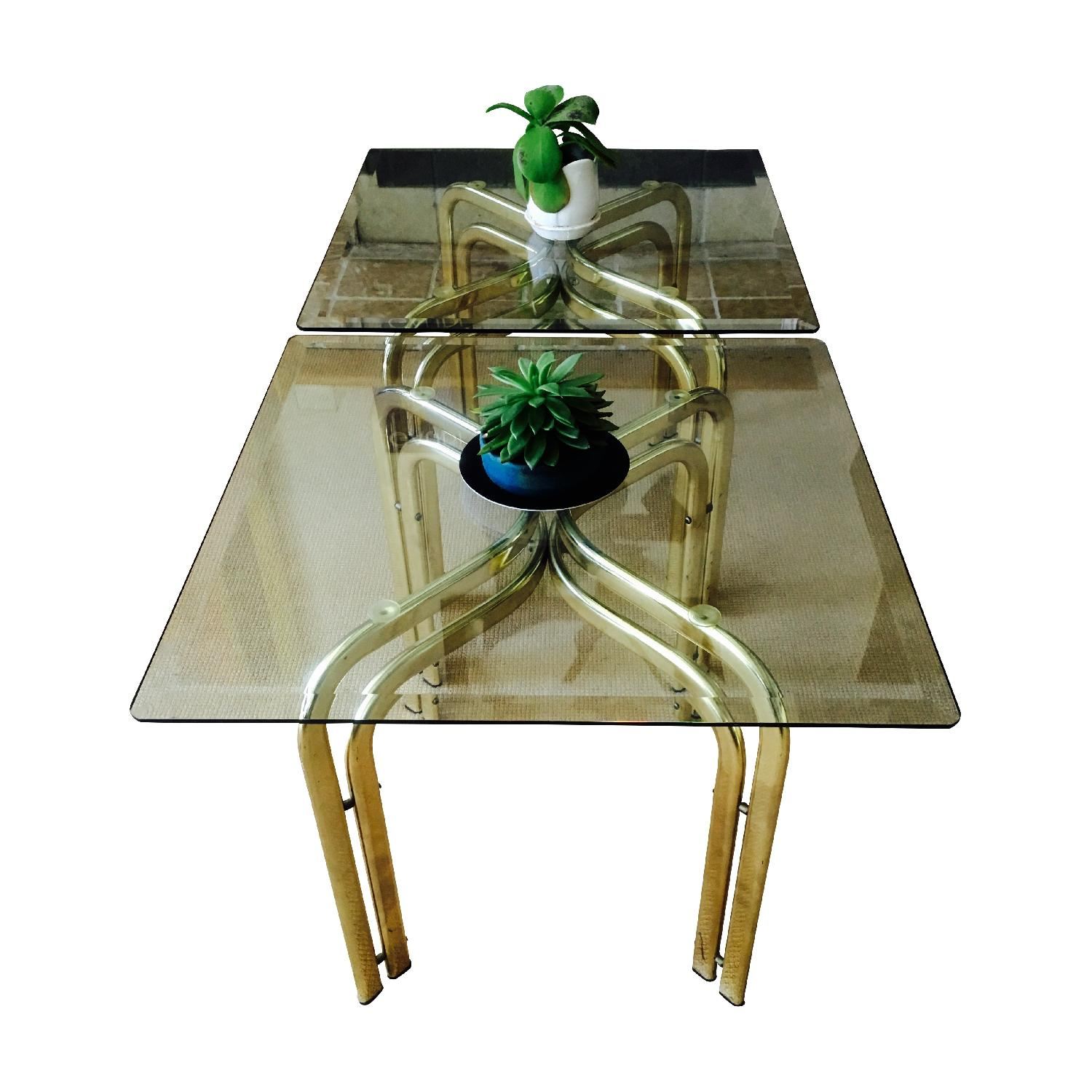 Vintage Brass & Glass Baughman Style Side Tables - Pair - image-5