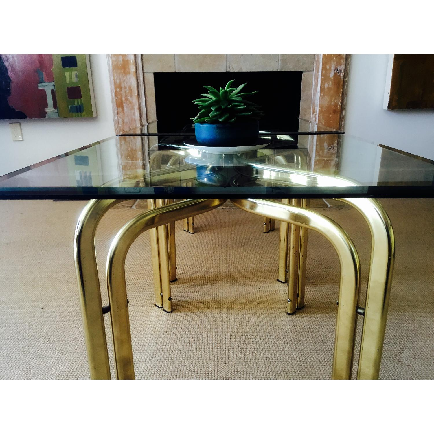 Vintage Brass & Glass Baughman Style Side Tables - Pair - image-6
