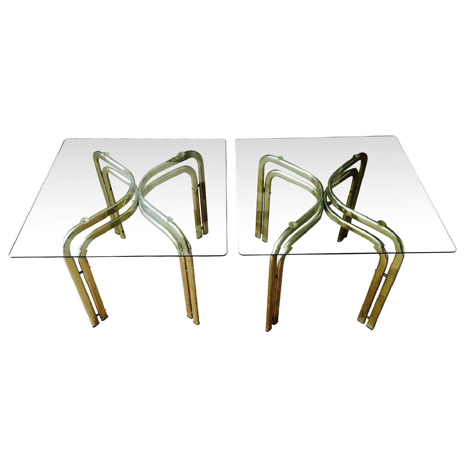 Vintage Brass & Glass Baughman Style Side Tables - Pair - image-0
