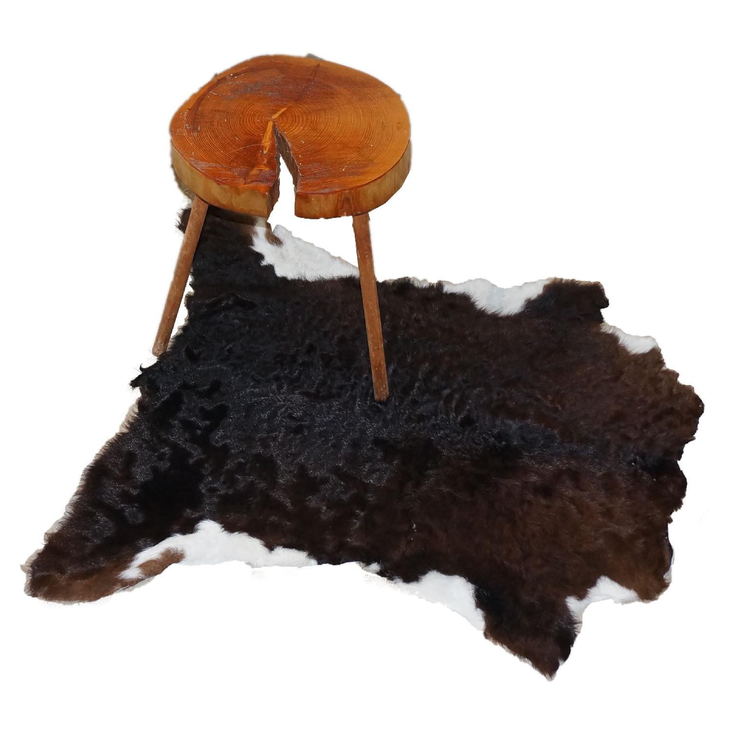 Fluffy Dark Brown with White Calfhide Rug - image-1