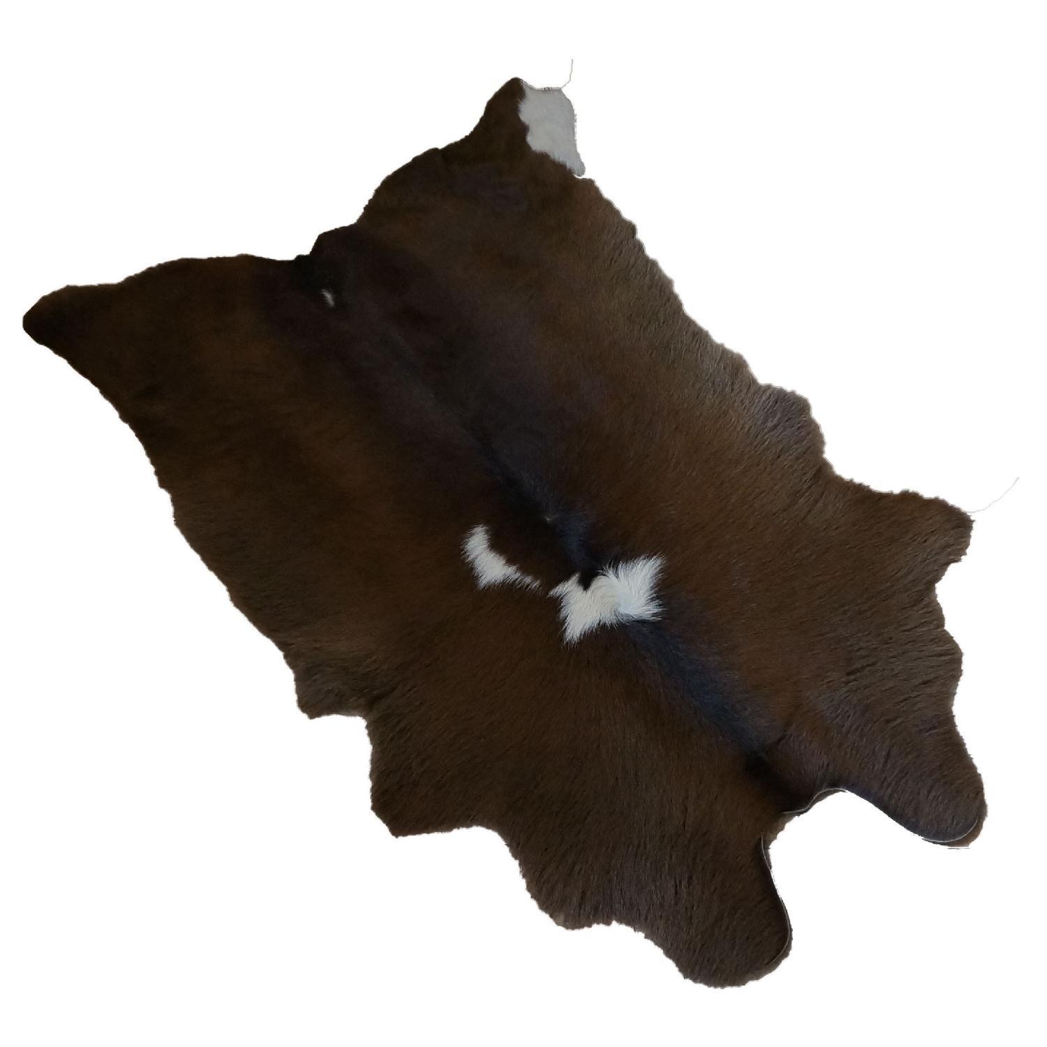 White on Brown Calfhide Rug - image-0