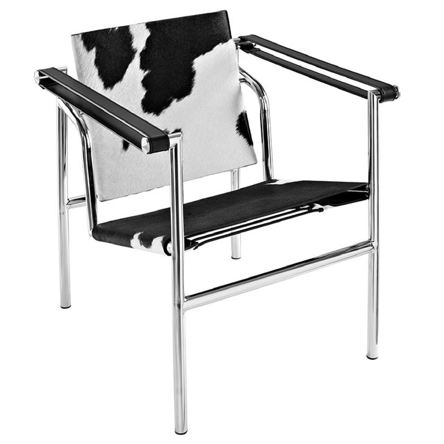 Black & White Cowhide Accent Chair - image-0
