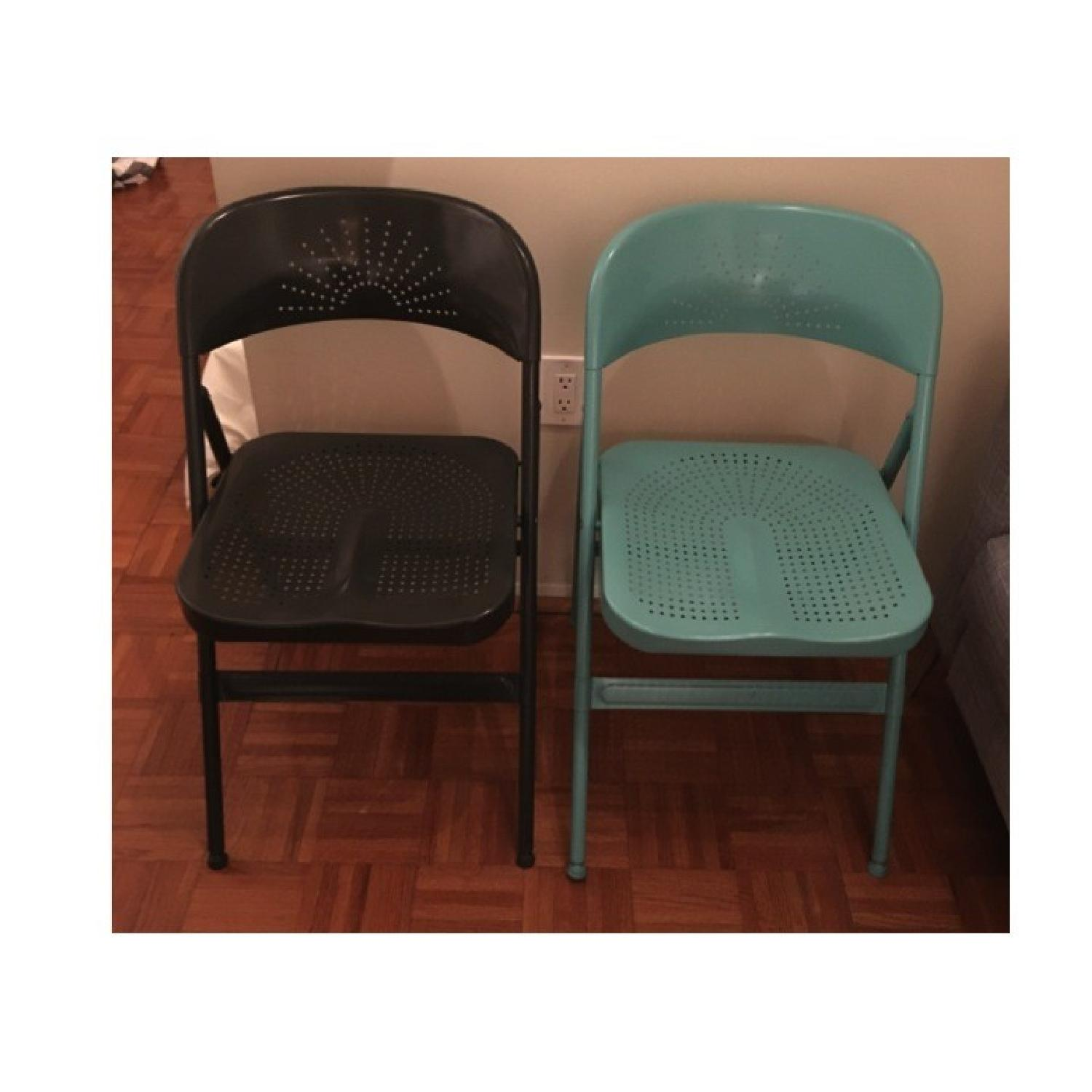 Folding Chair in Dark Grey & Turquoise - image-1